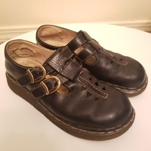 Dr. Martin Mary Jane Double Buckle Leather Shoes